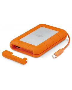 LaCie Rugged Thunderbolt & USB-C 4TB portable external hard drive orange and silver STFS4000800
