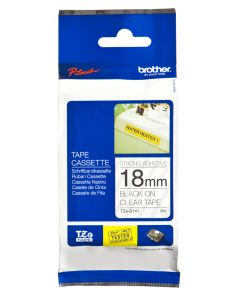 Brother TZe-S141 18mm Strong Adhesive Laminated tape black on clear