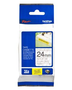Brother TZe-S151 24mm Strong Adhesive Laminated tape black on clear