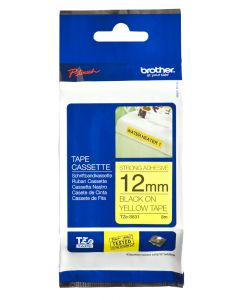 Brother TZe-S631 12mm Strong Adhesive Laminated tape black on yellow